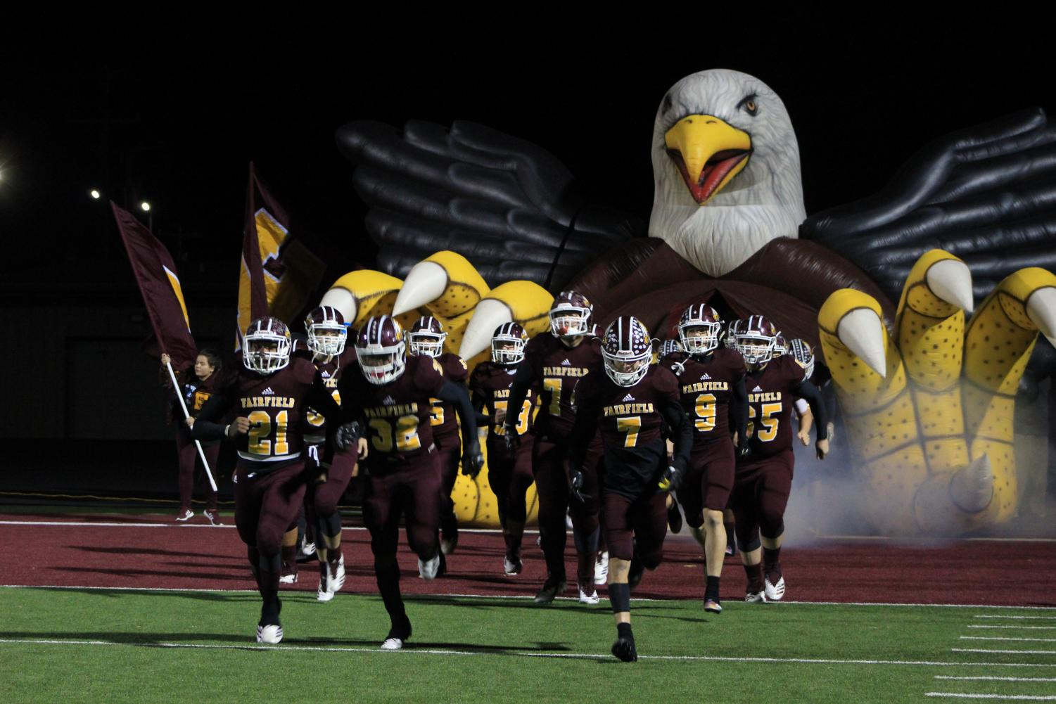 Eagles take the field against Salado last Friday, winning 28 to 15.