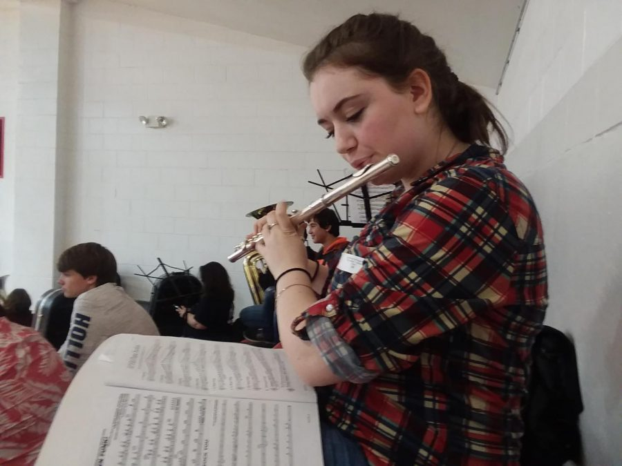 Junior Alexis O'Pry practices her etudes before her tryout. Photo by Abbie Cunningham.
