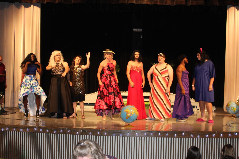 From left to right:  Contestants Rodrick Larkin, Jack Ezell, Preston Long, Ty Bachtel, Parker Eidson, Garrett Mensch, Jashaughn Hatcher, Josh Arrington line up on the stage. Photo by Erin Rachel.