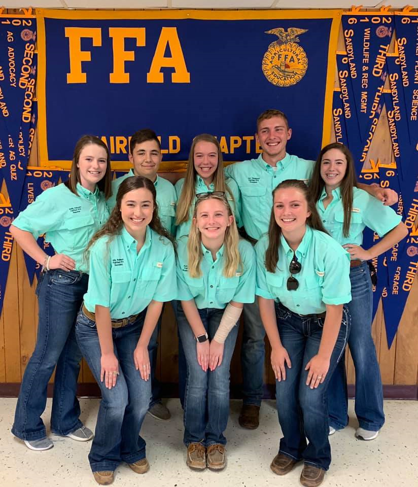 FFA Officers: Top from left to right:  juniors Emily Chavers, Caden Fryer, Kendel Crawford, senior Lex Thompson, and junior Riley White. Bottom from left to right: sophomore Ally Robinson, junior Katy Grounds, and junior Frankie Nelson Photo contributed by Ag department