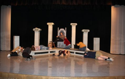 One Act Play cast members practice a scene. Photo by Erin Rachel.
