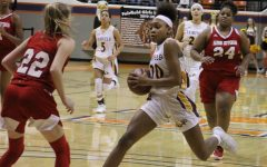 Freshman Shadasia Brackens dribbles to score at the regional game Hardin Jefferson. Photo contributed by Mary Awalt.