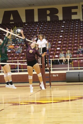 Senior Kendal Crawford blocks at the net.