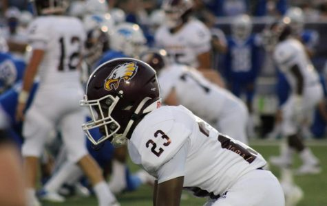 #23 Tyler Smith lines up with the Eagles against Robinson on September 18.
