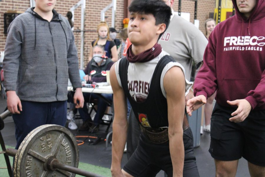Freshman Eli Castillo placed first in his weight class at the Fairfield meet.