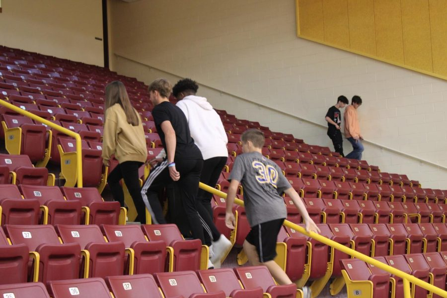 Students in Coach Hands health class climb stairs in remembrance of the sacrifices made on 9/11 twenty years ago.